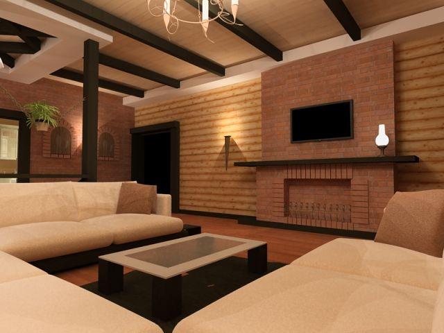 Дизайн интерьера из блокхауса